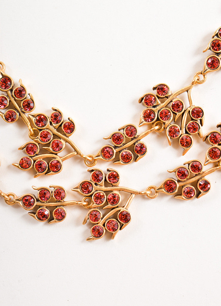 Oscar de la Renta Gold Toned and Pink Rhinestone Embellished Leaf Link Necklace Detail