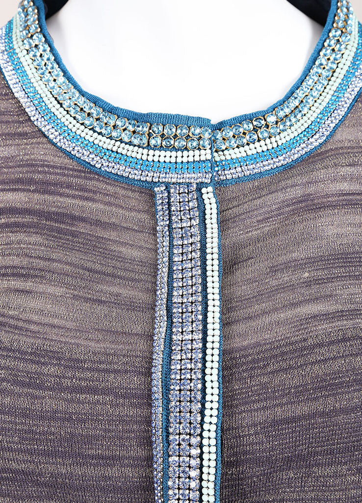 Peter Som Grey, Blue, and Gold Metallic Knit Embellished Long Sleeve Cardigan Detail