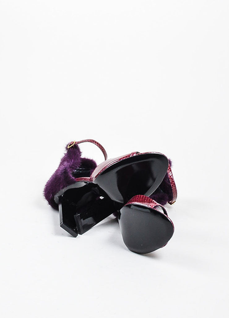 Burgundy and Purple Pierre Hardy Snakeskin and Mink Fur Ankle Sandals Outsoles