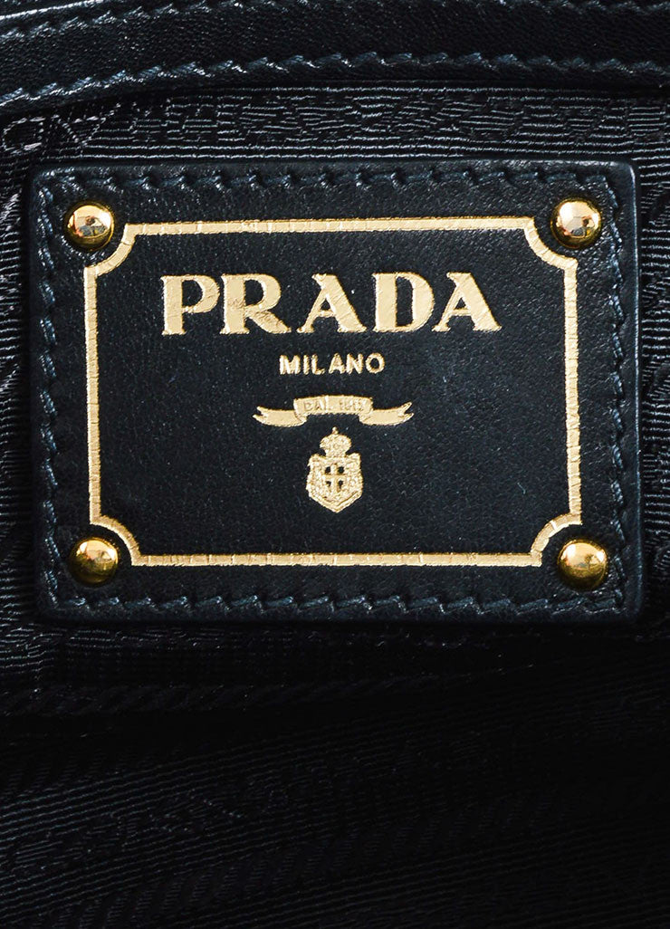 Prada Black Gaufre Leather Gold Toned Dual Handle Ruched Satchel Bag Brand
