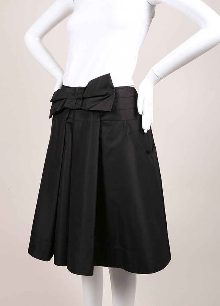 Prada Black Silk Pleated Bow A-Line Skirt Sideview