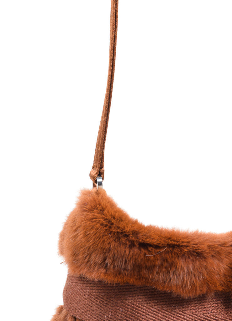 Prada Brown Fur Chiffon Mini Handbag Detail