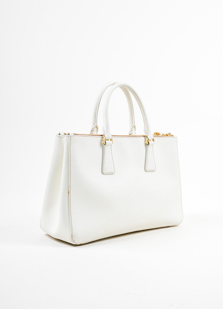 "Cream-White Prada Leather ""Saffiano Lux Small Double Zip"" Tote Handbag Sideview"