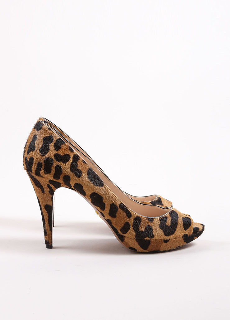 Prada Tan and Brown Pony Hair Leopard Print Peep Toe Platform Pumps Sideview