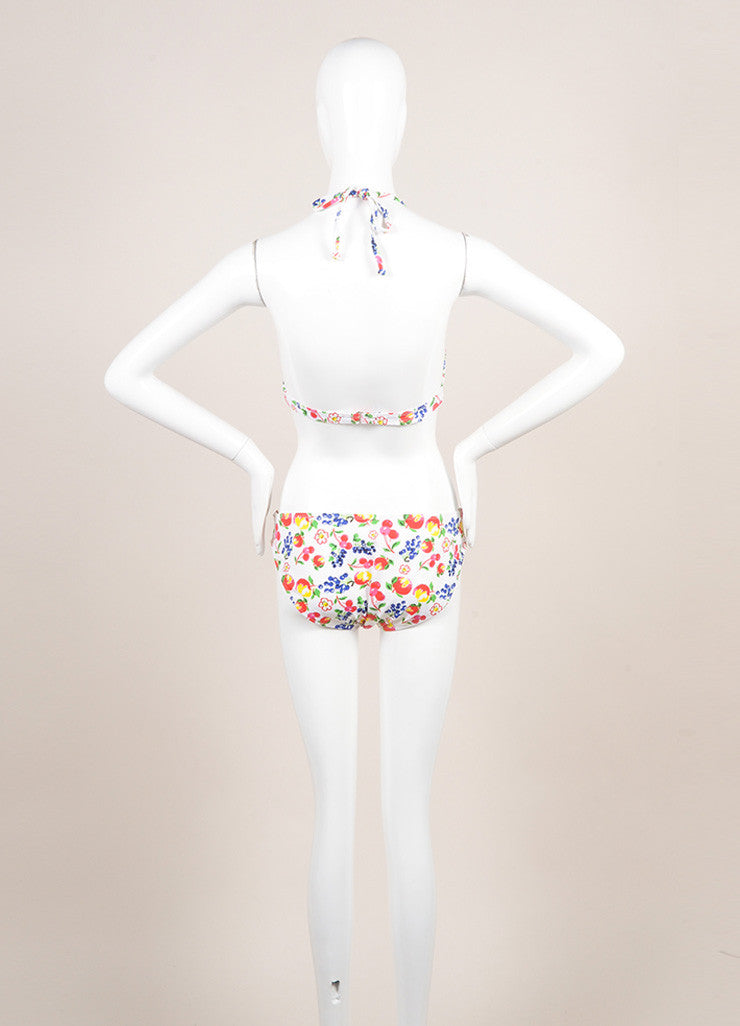 Pret a Surf New With Tags White and Multicolor Fruit Print Classic Bikini Backview