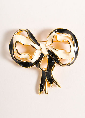 St. John Black and White Enameled Bow Pin Brooch Frontview