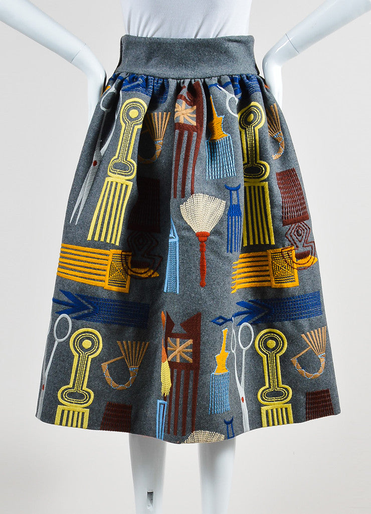 "Grey and Multicolor Stella Jean Wool Embroidered ""Lancaster"" Skirt Backview"