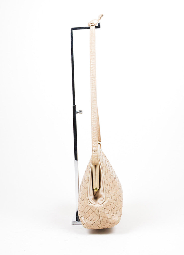 Beige Bottega Veneta Woven Intrecciato Leather Frame Shoulder Bag Sideview