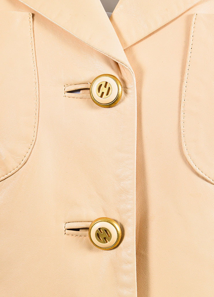 Beige Nude Celine Lambskin Leather Buttoned Blazer Jacket Detail
