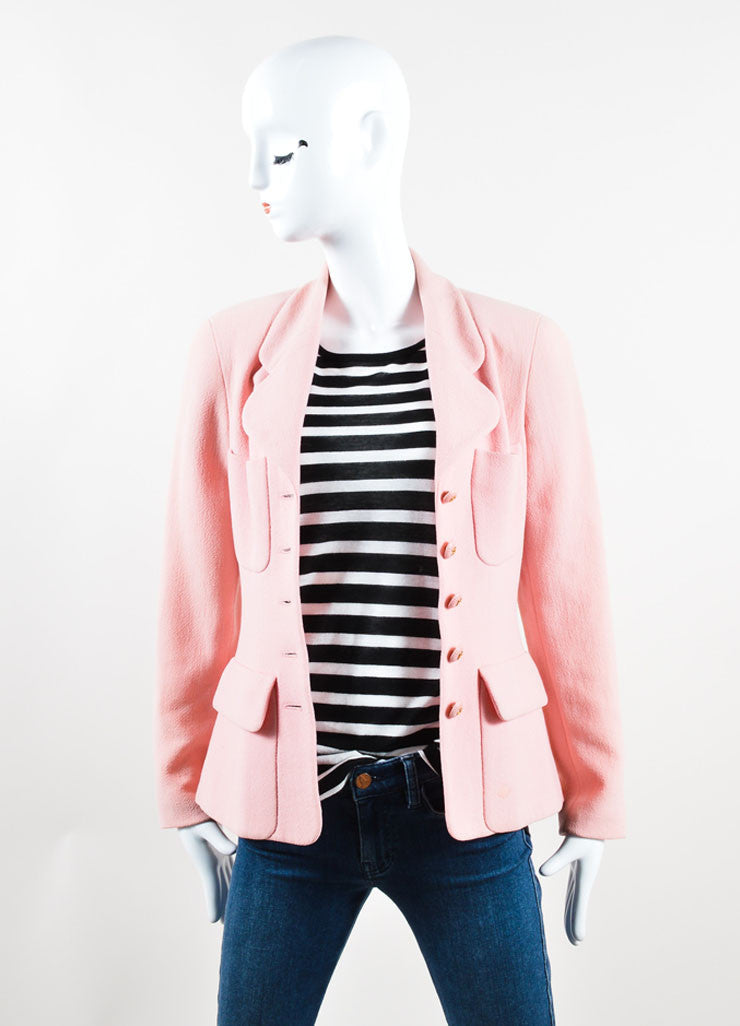 Chanel Light Pink Wool Jacket Frontview