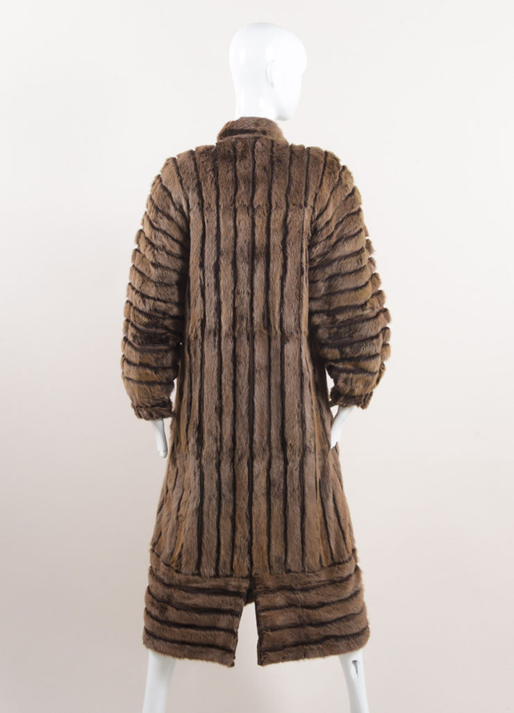 Vintage Brown Fur Striped Panel Long Coat Backview