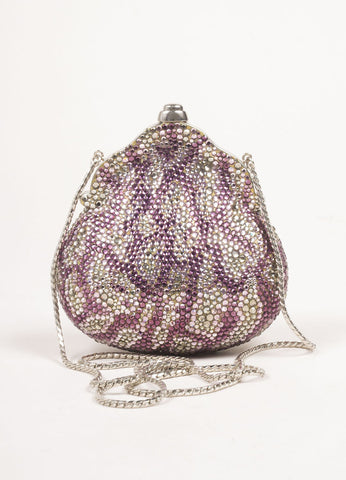 Judith Leiber Silver Toned and Purple Rhinestone Embellished Chain Strap Shell Clutch Bag Frontview