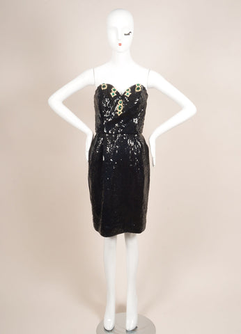 Julie Duroche Black Sequin Embellished Corset Strapless Dress Frontview