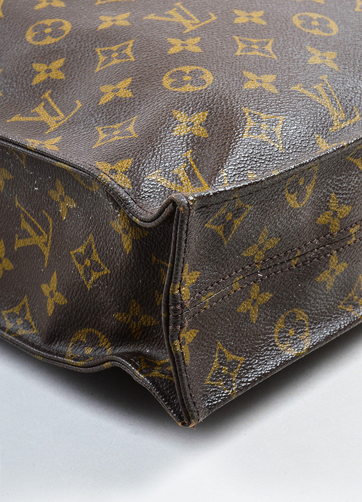 "Louis Vuitton Brown and Tan Coated Canvas Monogram ""Sac Plat"" Tote Bag Detail"
