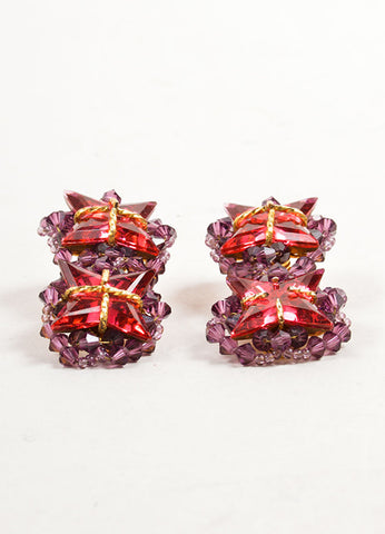 William DeLillo Purple, Red, and Gold Toned Double Star Beaded Earrings Sideview