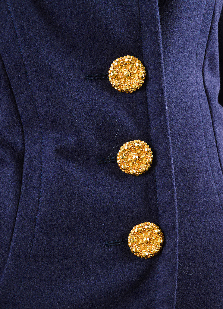 Yves Saint Laurent Navy Wool Jacket and Pencil Skirt Suit Detail