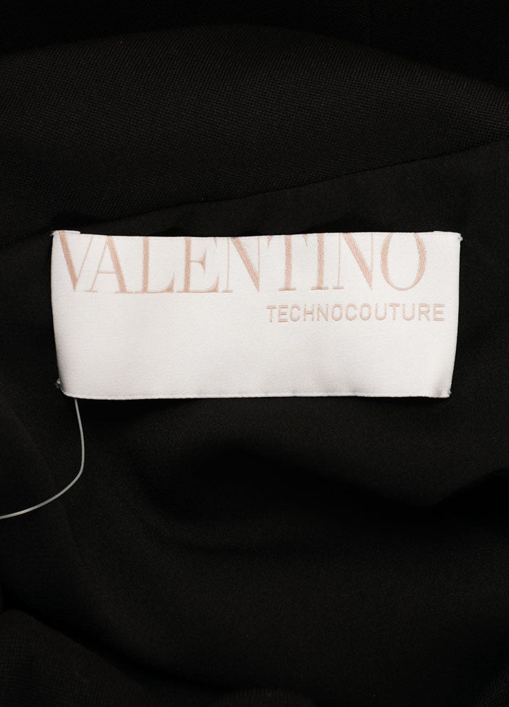 Valentino Black Ruched Bow Cap Shoulder Sheath Dress Brand