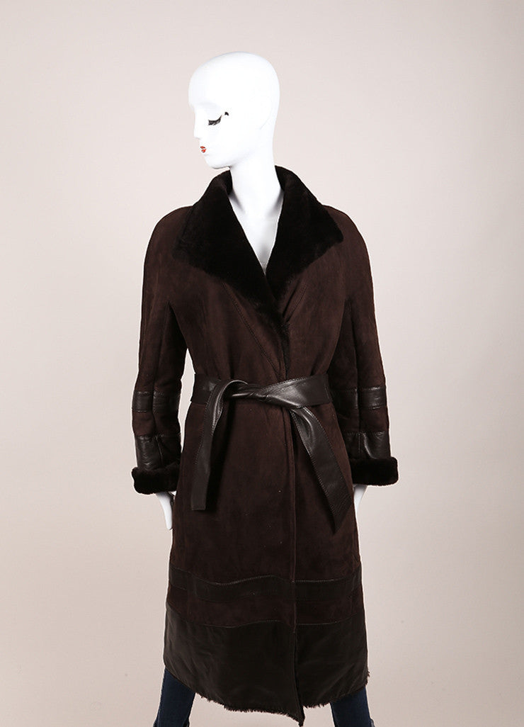 Valentino Dark Brown Suede Shearling Belted Long Coat Frontview