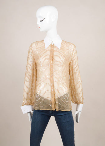 Valentino Nude and White Sequin Embellished Beaded Sheer Button Down Shirt Frontview