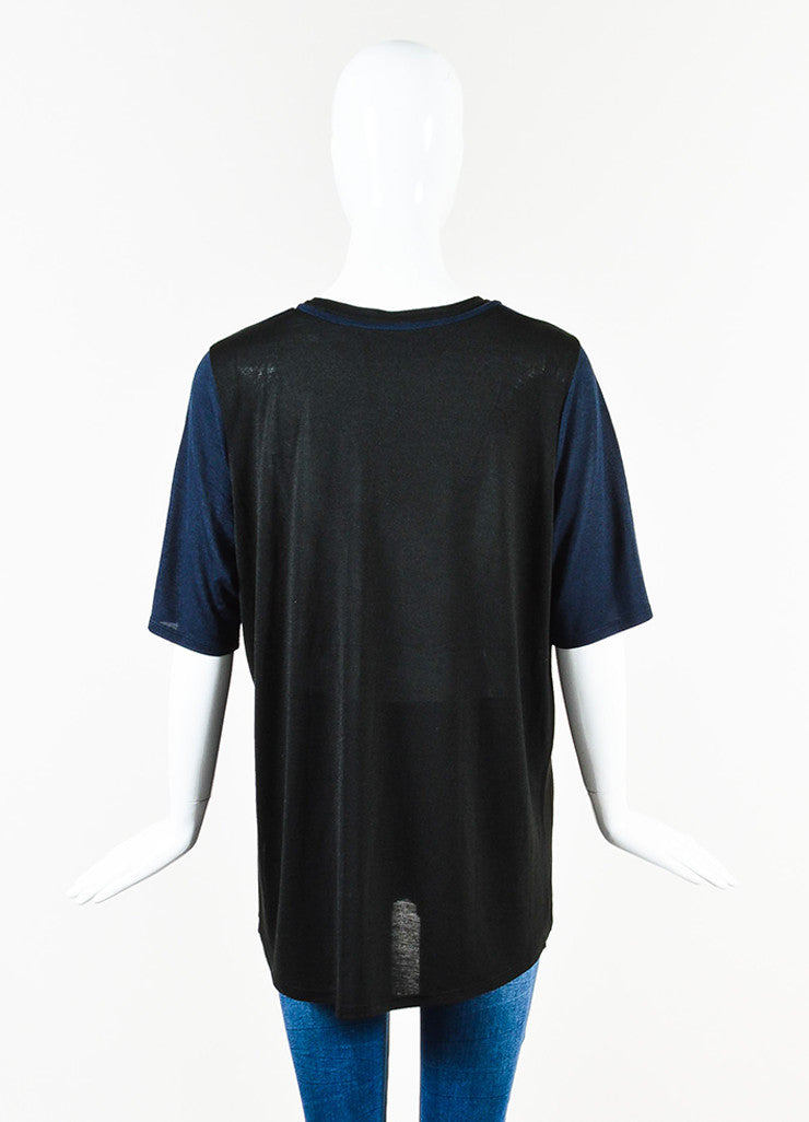 Vince  Navy and Black Semi Sheer Short Sleeve Top Backview
