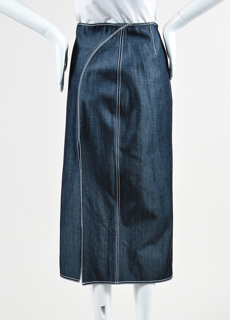 Wes Gordon Dark Blue and White Denim Stitched Dual Slit Midi Skirt Backview