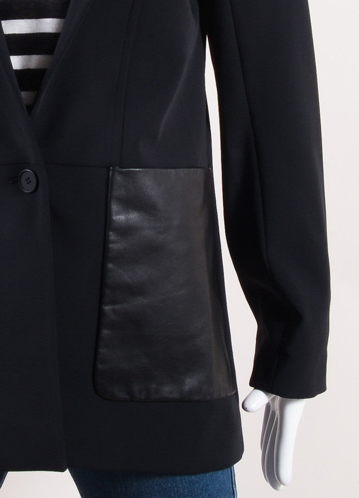 Yigal Azrouel Black Cotton and Leather Tailored Jacket Detail