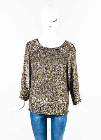 3.1 Phillip Lim Brown Gold Sequin Blouse Front