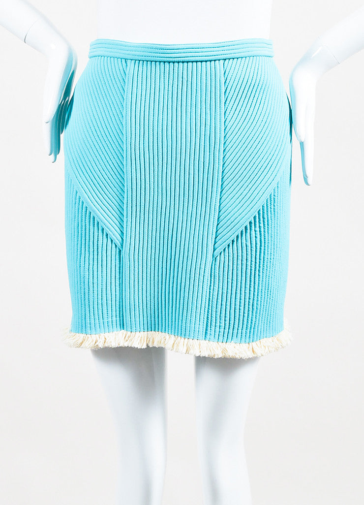 3.1 Phillip Lim Sky Blue and Cream Quilted Fringe Trim Mini Skirt Frontview