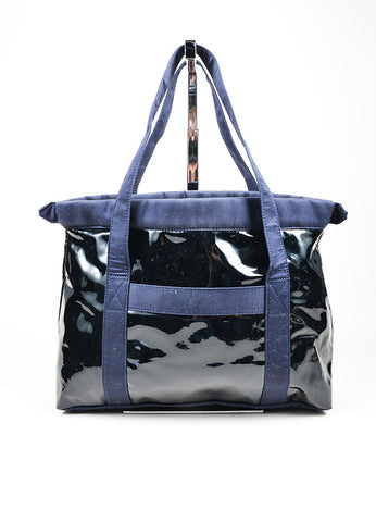 3.1 Phillip Lim Navy Blue Vinyl Canvas Tote Bag Frontview
