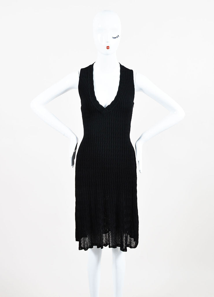 Alaia Black Knit V-Neck A-Line Semi Sheer Sleeveless Dress Frontview
