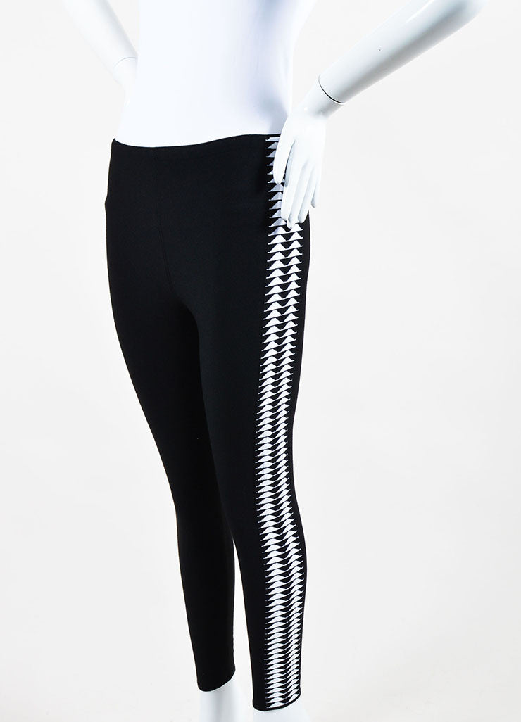 Black and White Alaia Triangle Print Stretch Leggings Sideview