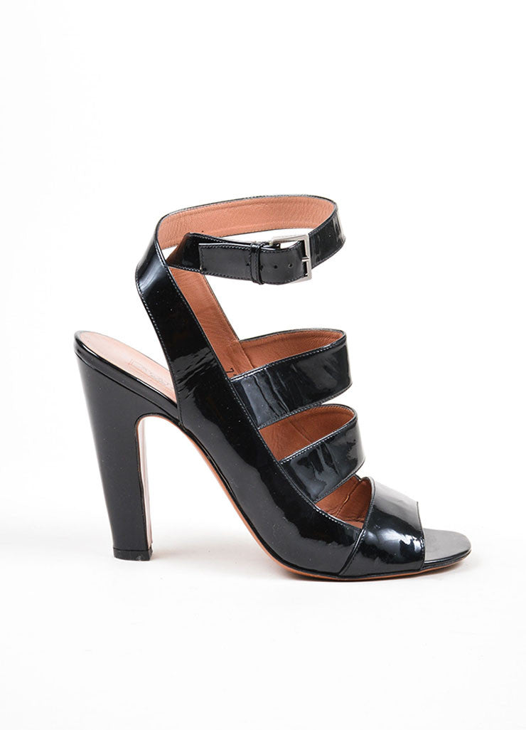 Black Alaia Patent Ankle Strap Cut Out Heels Sideview