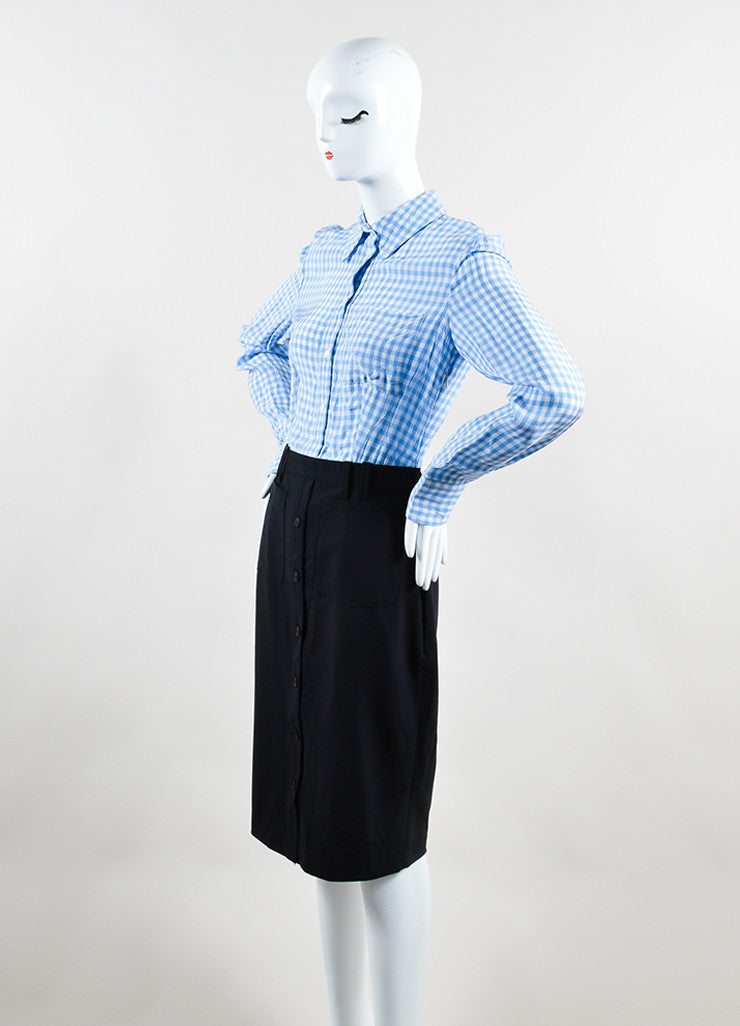 Altuzarra Blue, White, and Black Cotton and Silk Gingham Long Sleeve Shirt Dress Side