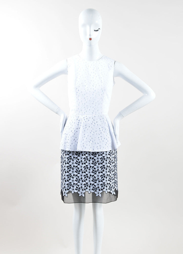 Andrew Gn Black and White Cotton Floral Eyelet Peplum Sheath Dress Frontview