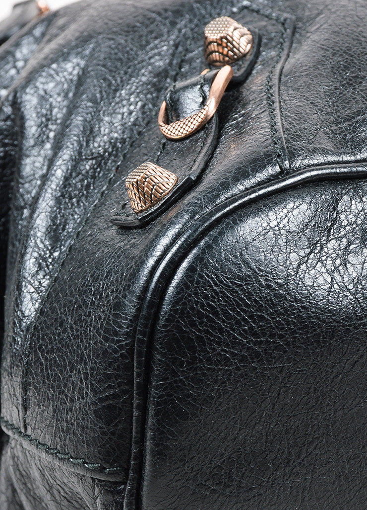 "Balenciaga Black Leather Studded ""Giant 12 Rosegold Thulian Bowler"" Bag Detail"