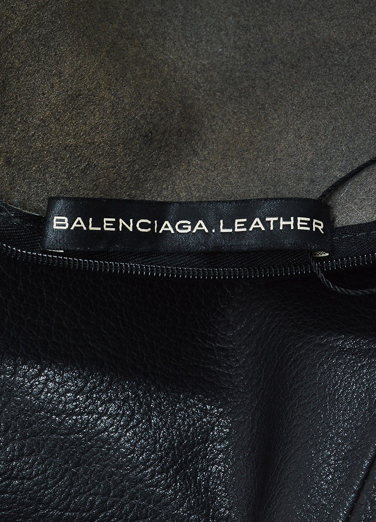 Black Balenciaga Buffalo Grained Leather Sleeveless Paneled Fit and Flare Dress Brand