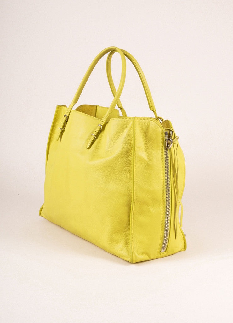 "Balenciaga Citron Leather ""Papier A4"" Side Zip Tote Bag Sideview"