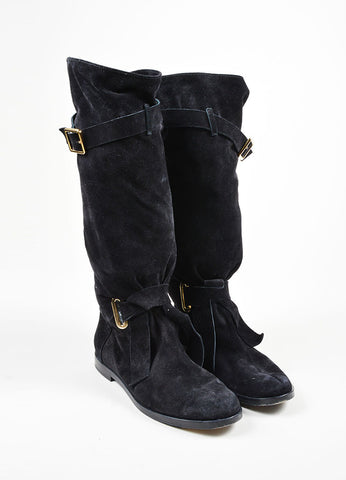 Black Balmain Suede Leather Slouchy Knee High Boots Front