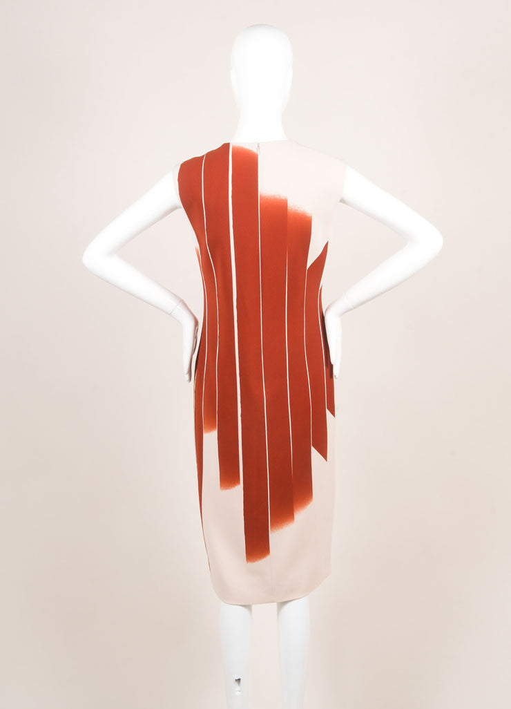 "Bottega Veneta New With Tags Red and Beige ""Faded Lines"" Printed Sleeveless Sheath Dress Backview"