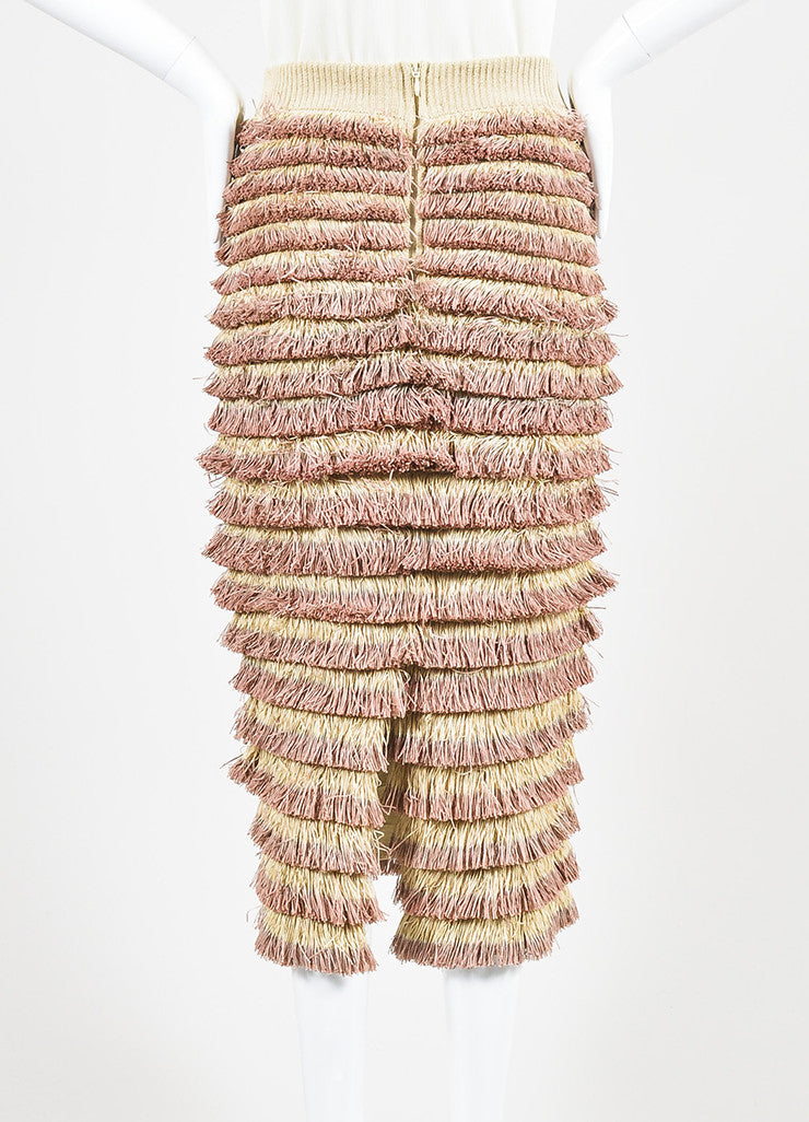 Burberry Prorsum Beige and Pink Knit Tiered Fringe Pencil Skirt Backview