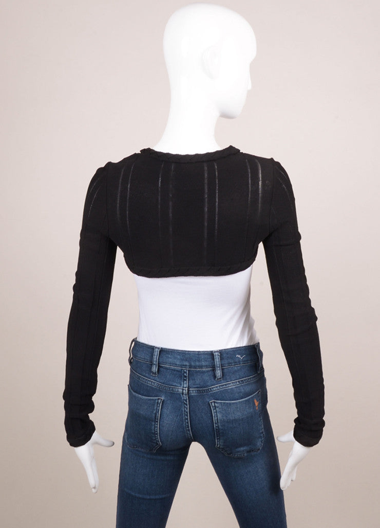 Chanel Black Knit Braided Trim Long Sleeve Cropped Shrug Backview
