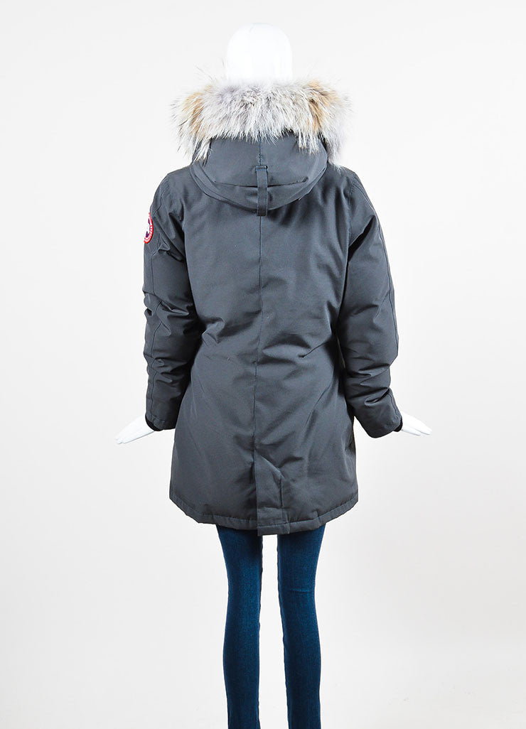"Canada Goose Graphite Grey Coyote Trim Down Filled ""Victoria"" Parka Backview"