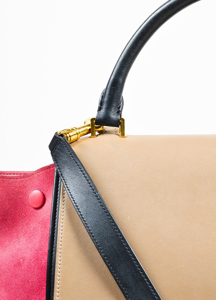 "Celine Red, Black, and Tan Suede Leather Tri Color Block ""Medium Trapeze"" Bag Detail 2"