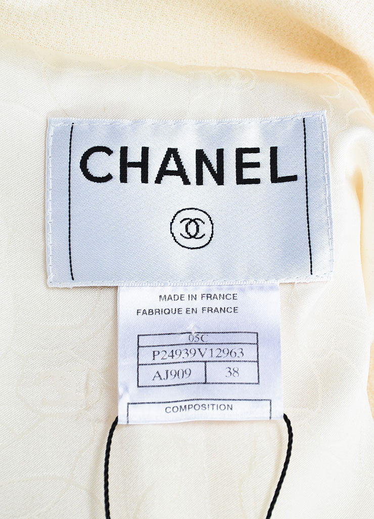 Cream Chanel Wool Tweed Trimmed Double Breasted Jacket Brand