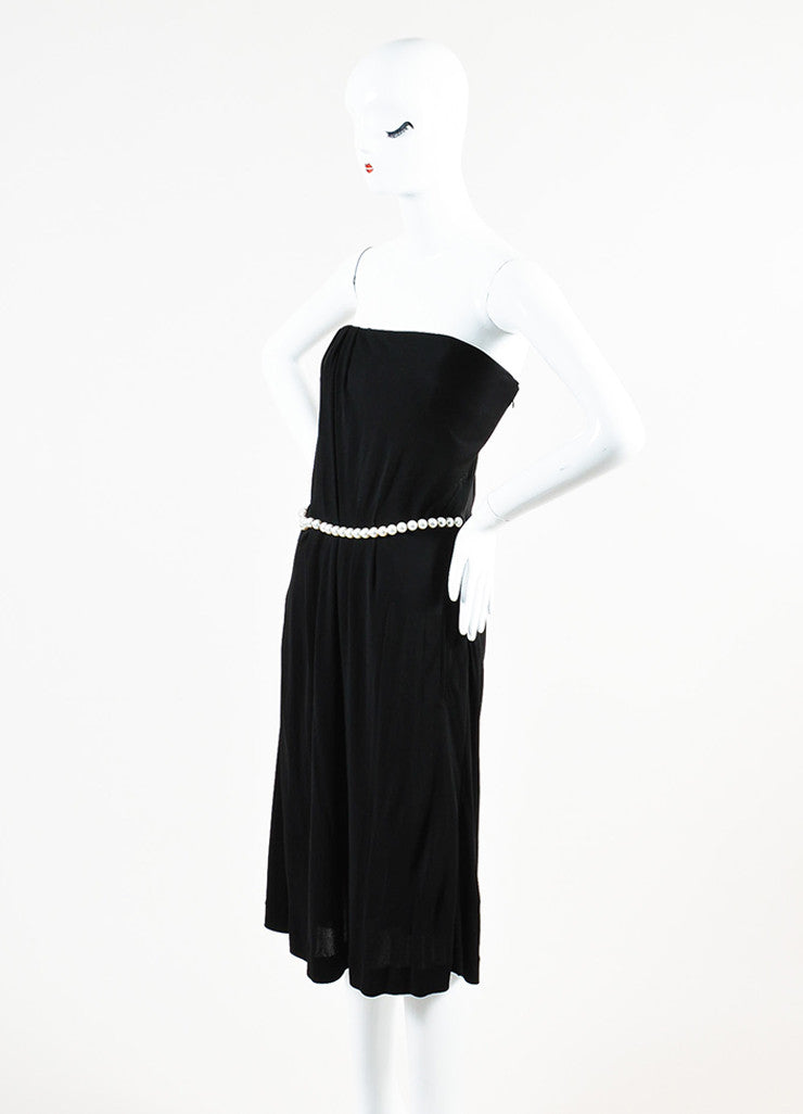 Chanel Black Crepe Jersey Faux Pearl Embellished Pleated Strapless Dress Sideview