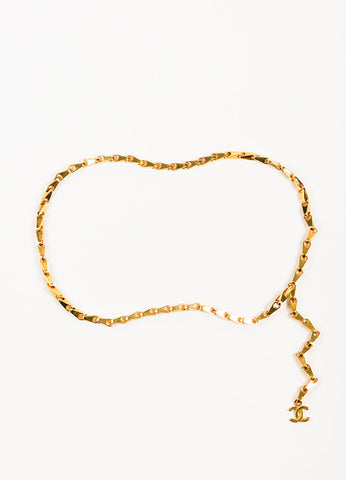 Chanel Gold Toned 'CC' Logo Charm Chain Link Hook Belt Frontview