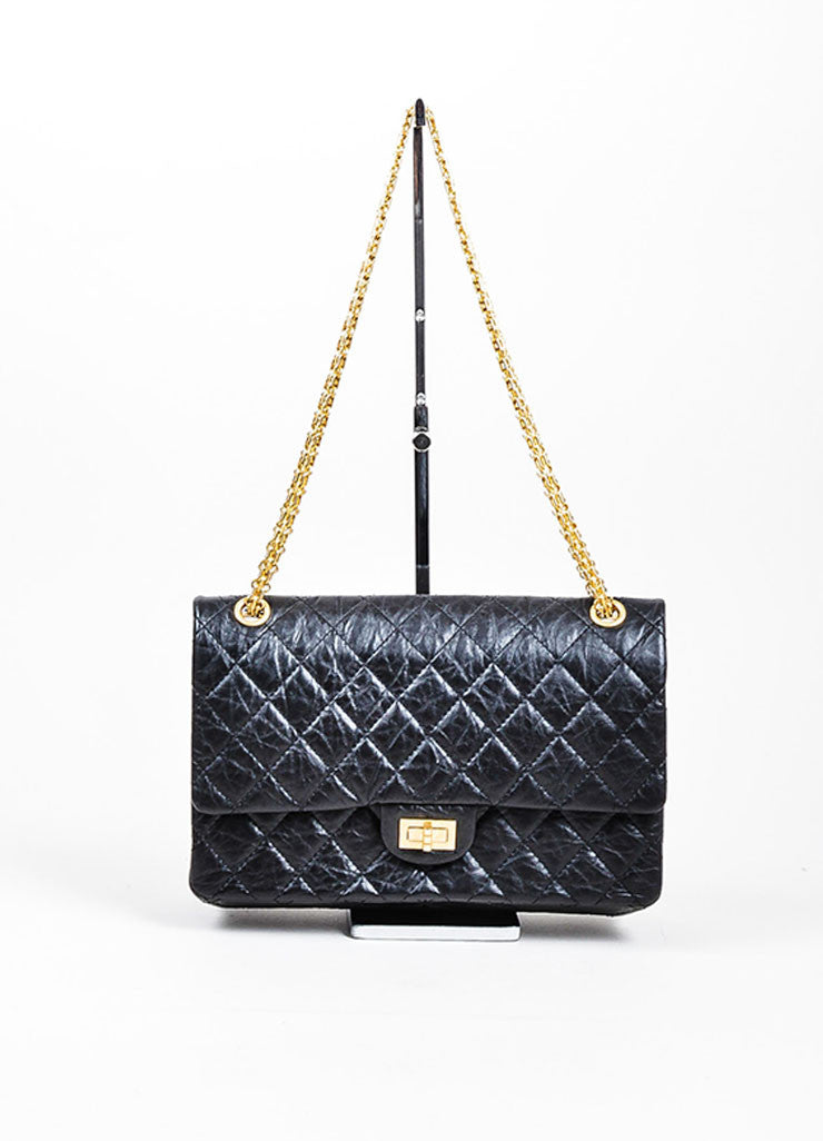 "Black Chanel Leather Quilted Chain Strap Double Flap ""2.55 Reissue 226"" Bag Frontview"