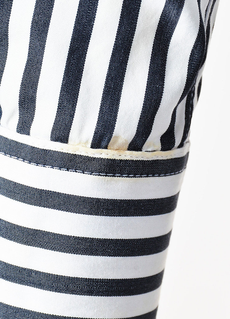Chanel Black and White Striped Gold Toned 'CC' Button Down Shirt Detail 2