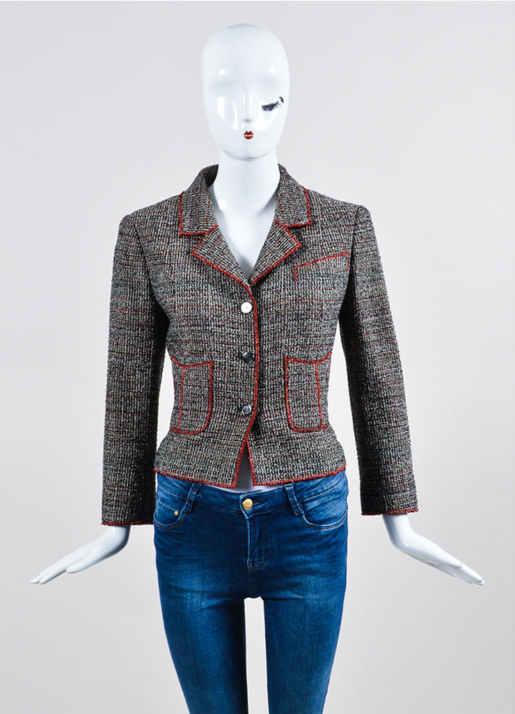 Black, White, and Red Chanel Tweed Structured Serged Trim Jacket Frontview 2