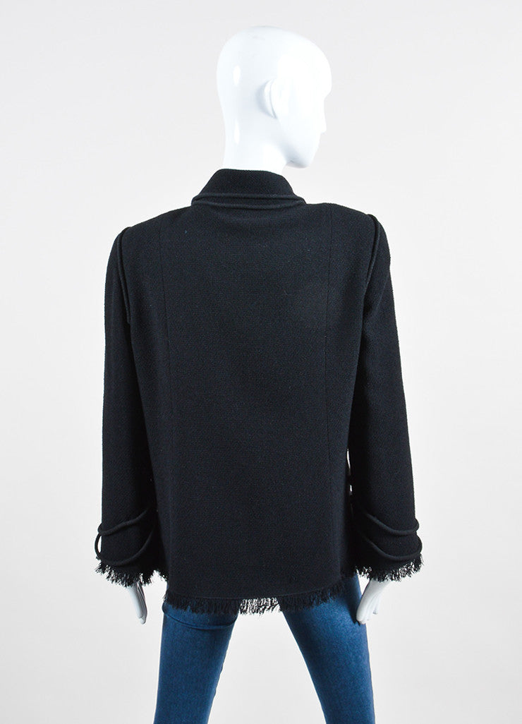Black Chanel Wool Blend Robe Embellished Fringe Trim Jacket Backview